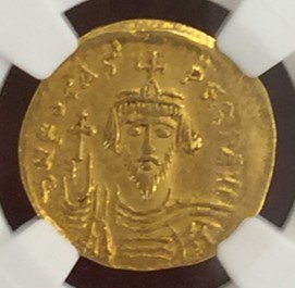 Phocas, AD 602-610 AV Solidus (3.50g) obv facing bust rv Angel hldg,【AU Strike: 4/5 Surface: 3/5】