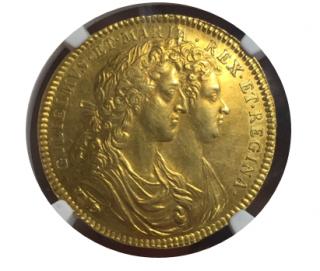 1689 G.BRIT MI-662-25 GOLD WILLIAM & MARY CORONATION【AU58】