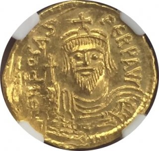 BYZANTINE EMPIRE Phocas,AD 602-610 AV Solidus 【MS Strike:4/5,Surface:2/5 】