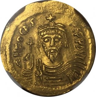 BYZANTINE EMPIRE Phocas, AD602-610 AV Solidus(4.45g)【AU Strike:5/5 Surface:2/5 ex-jewelry】