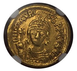 BYZANTINE EMPIRE Maur.Tiberius,AD 582-602 AV Solidus(4.40g) Carthage.1st indictional cycle,yr.8