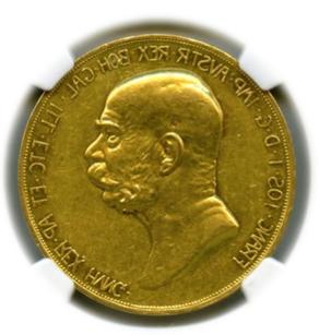 1908 AUSTRIA 100C 60TH ANNIVERSARY OF REIGN 【AU55】