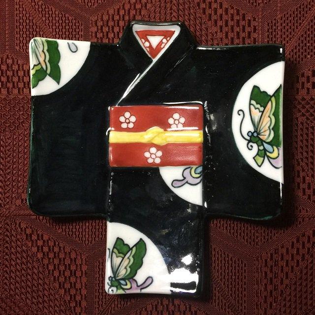 着物銘々皿/黒濃蝶紋