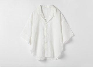 リネンコットン 半袖開襟シャツ