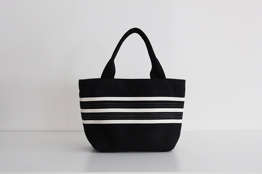 TANEI/タネイ sasicco ライントートS(ブラック)刺し子織り