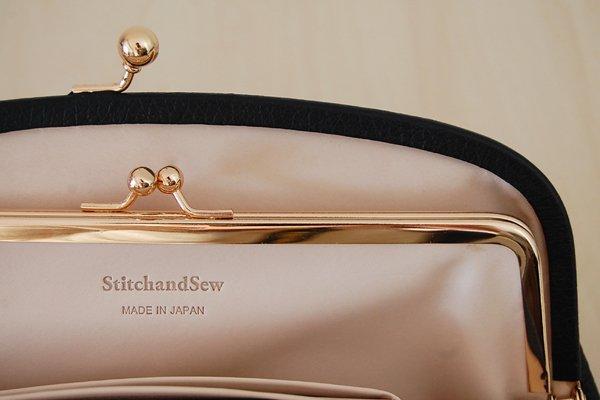StitchandSew/ステッチアンドソー がま口長財布(ブラック)