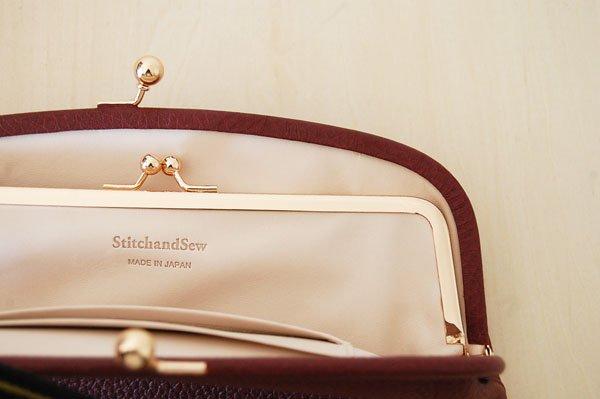 StitchandSew/ステッチアンドソー がま口長財布(ボルドー)