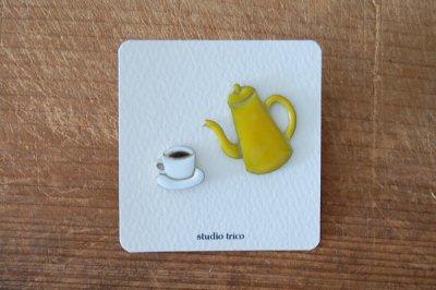 studio trico / ふるやともこ ピンブローチ コーヒーとポット