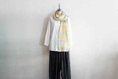 Suno&Morrison/スノ アンド モリソン ガラ紡 マフラー  20×190cm(Mix border-Green)