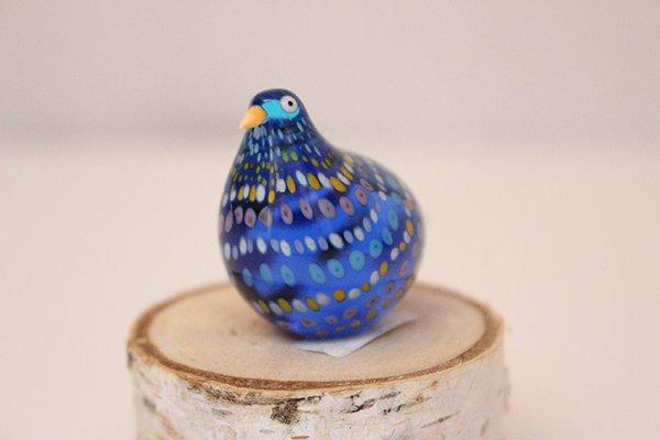 Takamura Glass Works /高村絢子 ガラスの鳥(青 丸)