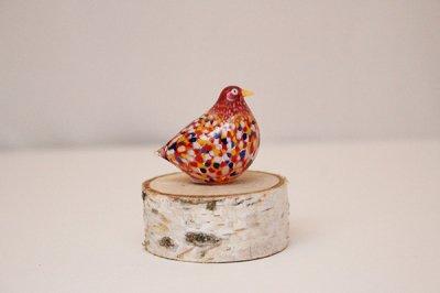 Takamura Glass Works /高村絢子 ガラスの鳥(赤 丸)