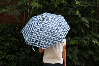 Sun mi サンミ 50cm × 8本骨 アフリカンバティック 晴雨兼用傘【UV&撥水加工】水色