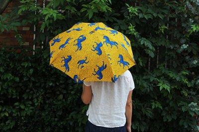 Sun mi /サンミ 折り畳み傘 アフリカンバティック 晴雨兼用 傘 【UV&撥水加工】 イエロー馬柄A