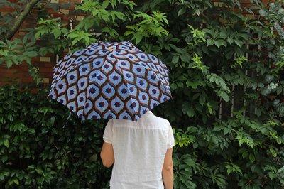 Sun mi /サンミ 折り畳み傘 アフリカンバティック 晴雨兼用 傘 【UV&撥水加工】 ネイビー