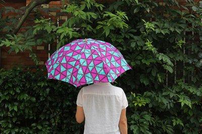 Sun mi /サンミ 折り畳み傘 アフリカンバティック 晴雨兼用 傘 【UV&撥水加工】 パープル