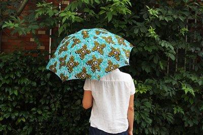 Sun mi /サンミ 折り畳み傘 アフリカンバティック 晴雨兼用 傘 【UV&撥水加工】 ネオンブルー