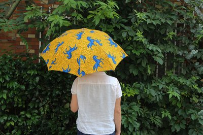 Sun mi /サンミ 折り畳み傘 アフリカンバティック 晴雨兼用 傘 【UV&撥水加工】 イエロー馬柄B