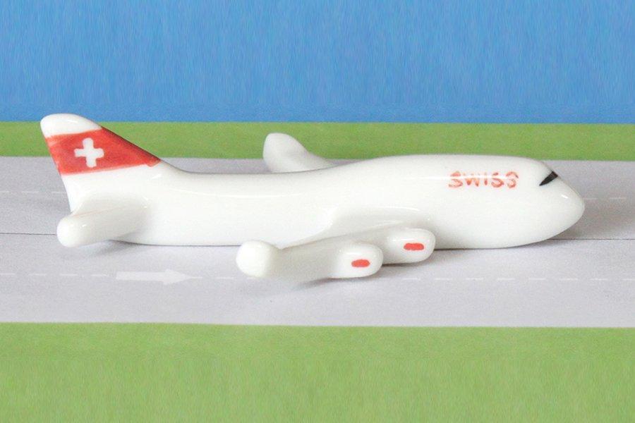 飛行機箸置き  (スイス航空LX B747-400)