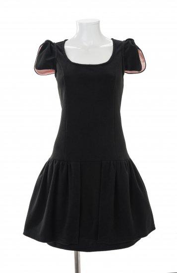【Sサイズ】  リボン袖 (ピンク)  ルームウェア ワンピース  フリース素材