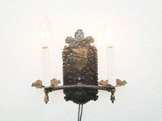 ビンテージ 2灯アイアンブラケットランプ