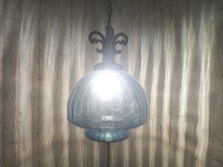 ビンテージ ブルーガラスペンダントランプ