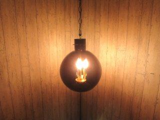 ビンテージ 3灯パープルガラスペンダントランプ
