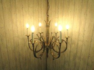 ビンテージ スペイン製 6灯シャンデリア
