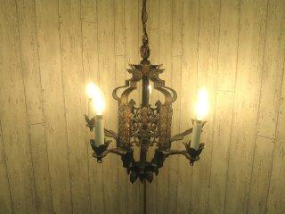 ビンテージ 5灯アイアンシャンデリア