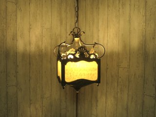 ビンテージ 4灯アイアン×マーブルガラスランプ