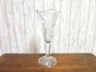 ビンテージ カッティングガラスフラワーベース