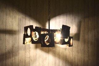 ビンテージ 60's 4灯銅板シャンデリア