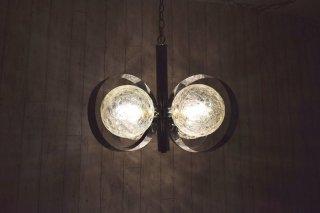 ビンテージ 60's 4灯クローム×ガラスペンダントランプ