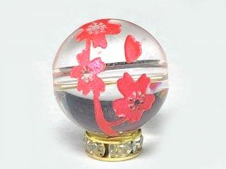 天然石*AAAピンク彫枝サクラ本水晶 10〜12ミリ