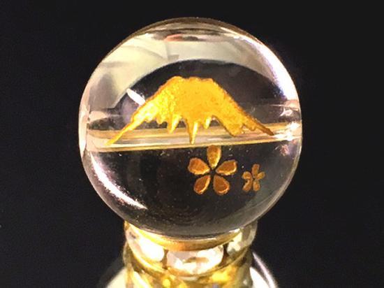 天然石*金彫富士サクラ本水晶 10〜14ミリ