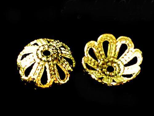 アクセサリーキャップ 菊型座金【ゴールド】 6ミリ〜12ミリ 10個セット&50個セット