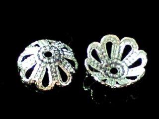 アクセサリーキャップ 菊型座金【シルバー】 6ミリ〜12ミリ 10個セット&50個セット