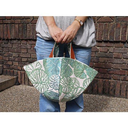 かご型バック つわぶき てぬぐいカバー袋付き(おいしい時間)  型染工房紗希