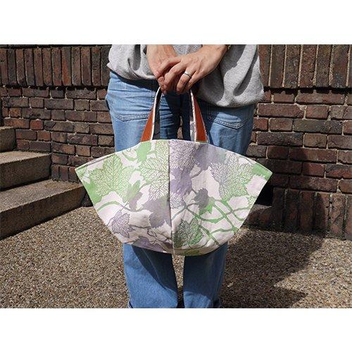 かご型バック つる葉 てぬぐいカバー袋付き(姫だるま)  型染工房紗希