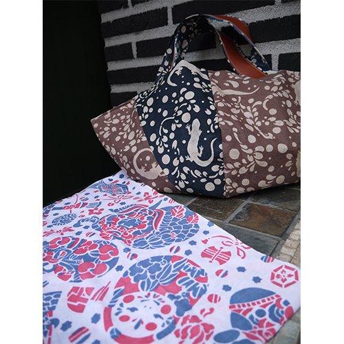 かご型バック やもり紺×茶 てぬぐいカバー袋付き(めでたづくし)  型染工房紗希