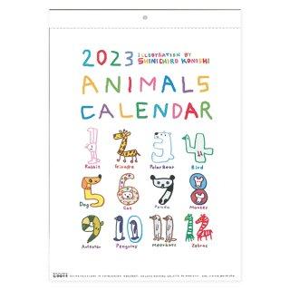 【定形外郵便OK】小西慎一郎 シンプルなアニマルカレンダー2021年度カラフルタイプ(B4サイズ)
