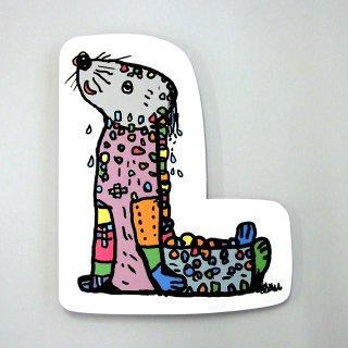 【メール便OK】小西慎一郎 アルファベットアニマルポストカード [L] アザラシ