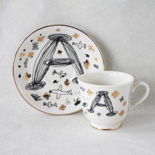 【ギフト】【ペアカップ】studio coote スタジオクート 小西慎一郎 アルファベット コーヒーカップ&ソーサ[A]