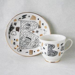 【ギフト】【ペアカップ】studio coote スタジオクート 小西慎一郎 アルファベット コーヒーカップ&ソーサ[B]
