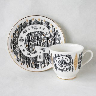 【ギフト】【ペアカップ】studio coote スタジオクート 小西慎一郎 アルファベット コーヒーカップ&ソーサ[G]
