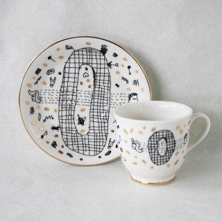【ギフト】【ペアカップ】studio coote スタジオクート 小西慎一郎 アルファベット コーヒーカップ&ソーサ[O]