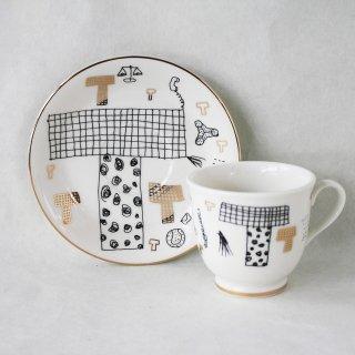 【ギフト】【ペアカップ】studio coote スタジオクート 小西慎一郎 アルファベット コーヒーカップ&ソーサ[T]