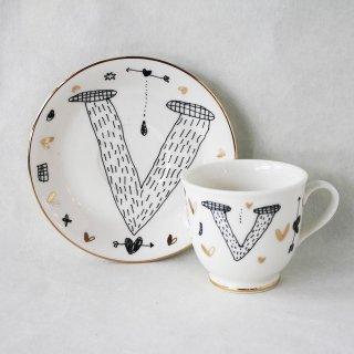 【ギフト】【ペアカップ】studio coote スタジオクート 小西慎一郎 アルファベット コーヒーカップ&ソーサ[V]