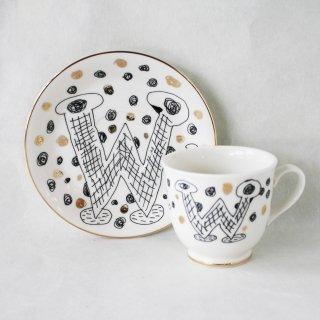 【ギフト】【ペアカップ】studio coote スタジオクート 小西慎一郎 アルファベット コーヒーカップ&ソーサ[W]