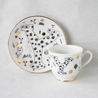 【ギフト】【ペアカップ】studio coote スタジオクート 小西慎一郎 アルファベット コーヒーカップ&ソーサ[Y]