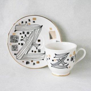 【ギフト】【ペアカップ】studio coote スタジオクート 小西慎一郎 アルファベット コーヒーカップ&ソーサ[Z]